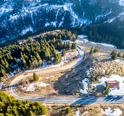 Sudelfeld Bavarian Alps close to Bayrischzell and the Austrian Boarder. Aerial Panorama