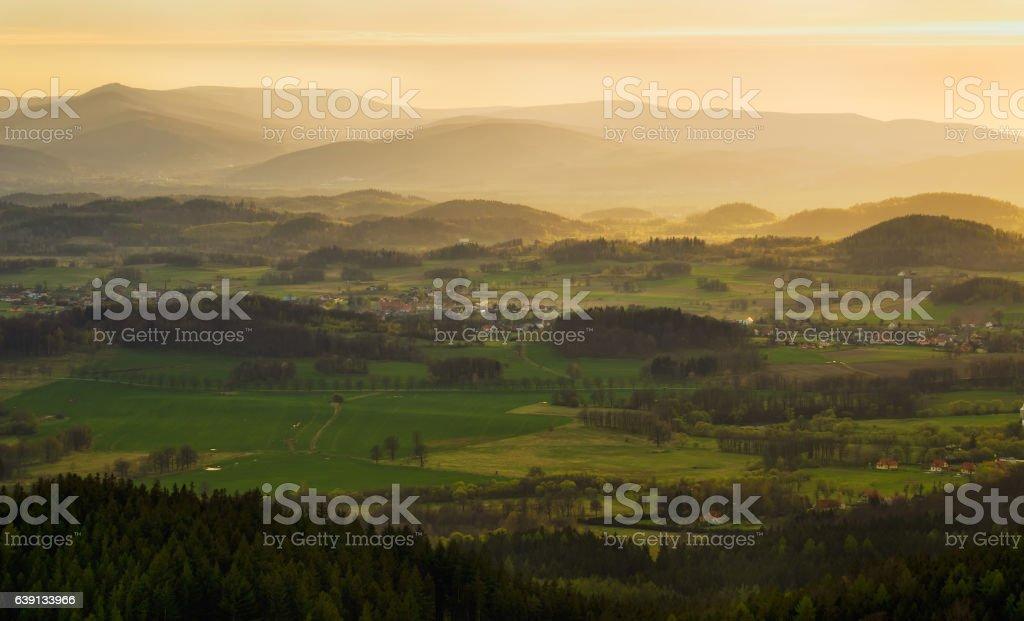 Sudety sunrise stock photo