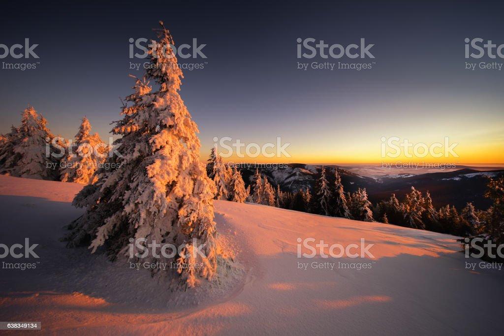 Sudety sunset stock photo