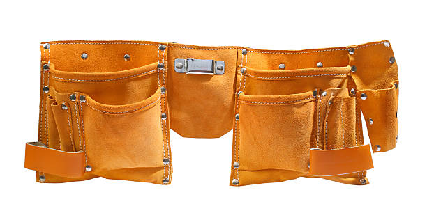 suede working belt - tool belt stock photos and pictures