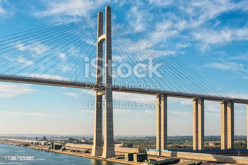 El Qantara, Egypt - November 5, 2017: The Mubarak Peace Bridge, also known as the Al Salam Bridge, or Al Salam Peace Bridge, is a road bridge crossing the Suez Canal at El-Qantara.