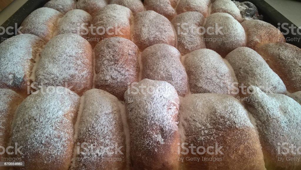 Suffed cakes on a baking tin. Slovakia stock photo