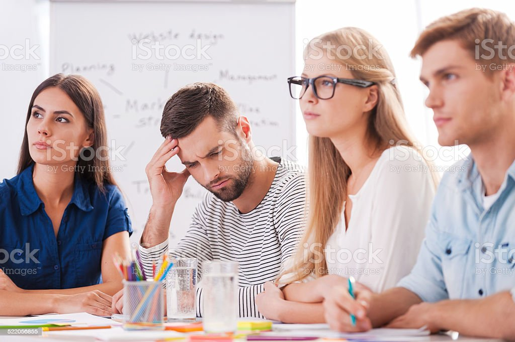 Suffering from awful headache. stock photo