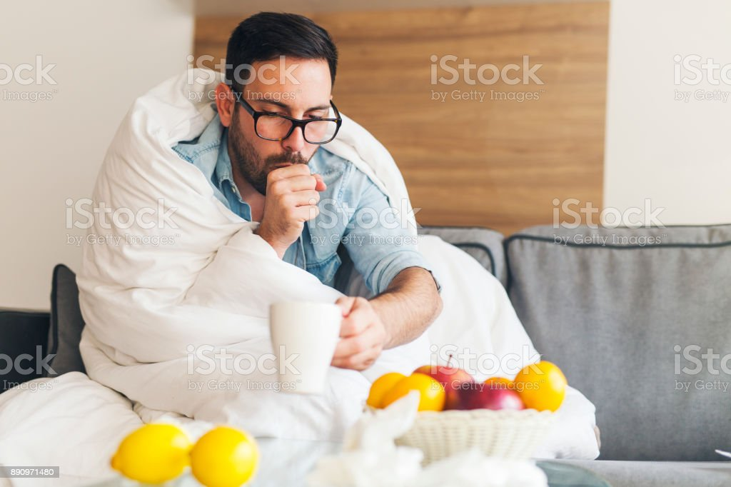 Suffering from cold stock photo