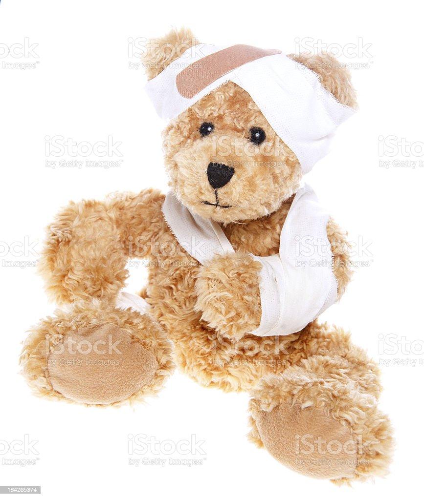 Suffering Injured Sweet Teddy Bear royalty-free stock photo