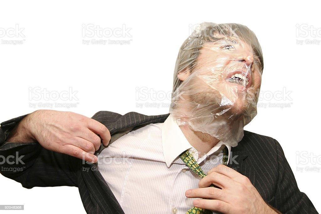suffocating businessman stock photo