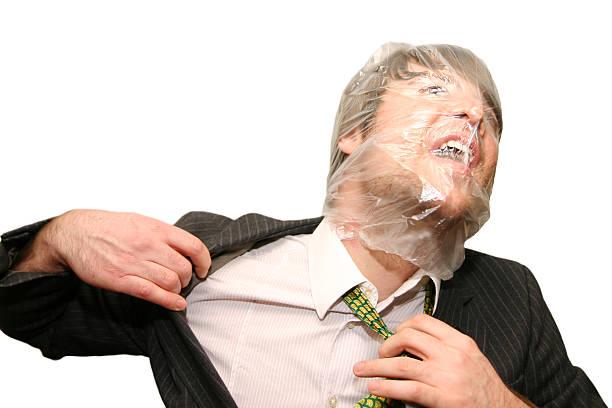 suffocating Geschäftsmann – Foto