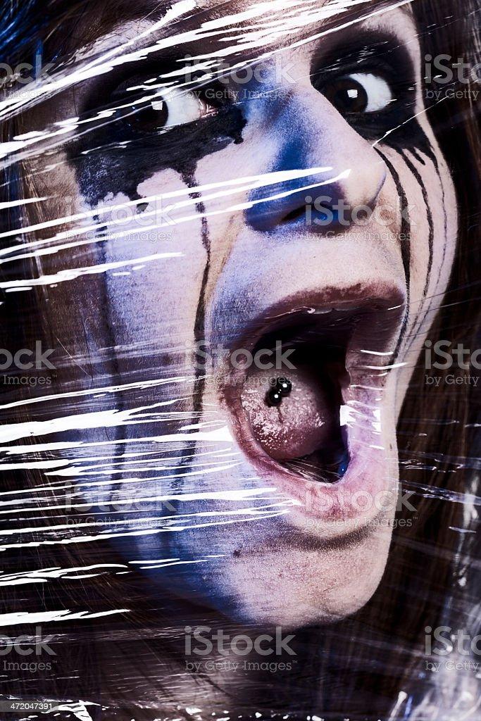 Suffocating woman stock photo
