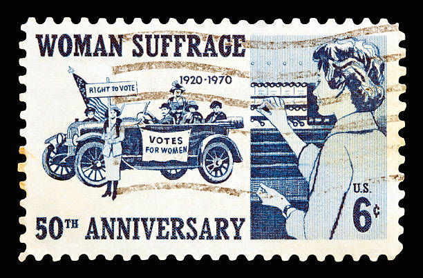 Suffrage 1970 A 1970 issued 6 cent United States postage stamp showing 50th Anniversary of Woman Suffrage. women's suffrage stock pictures, royalty-free photos & images