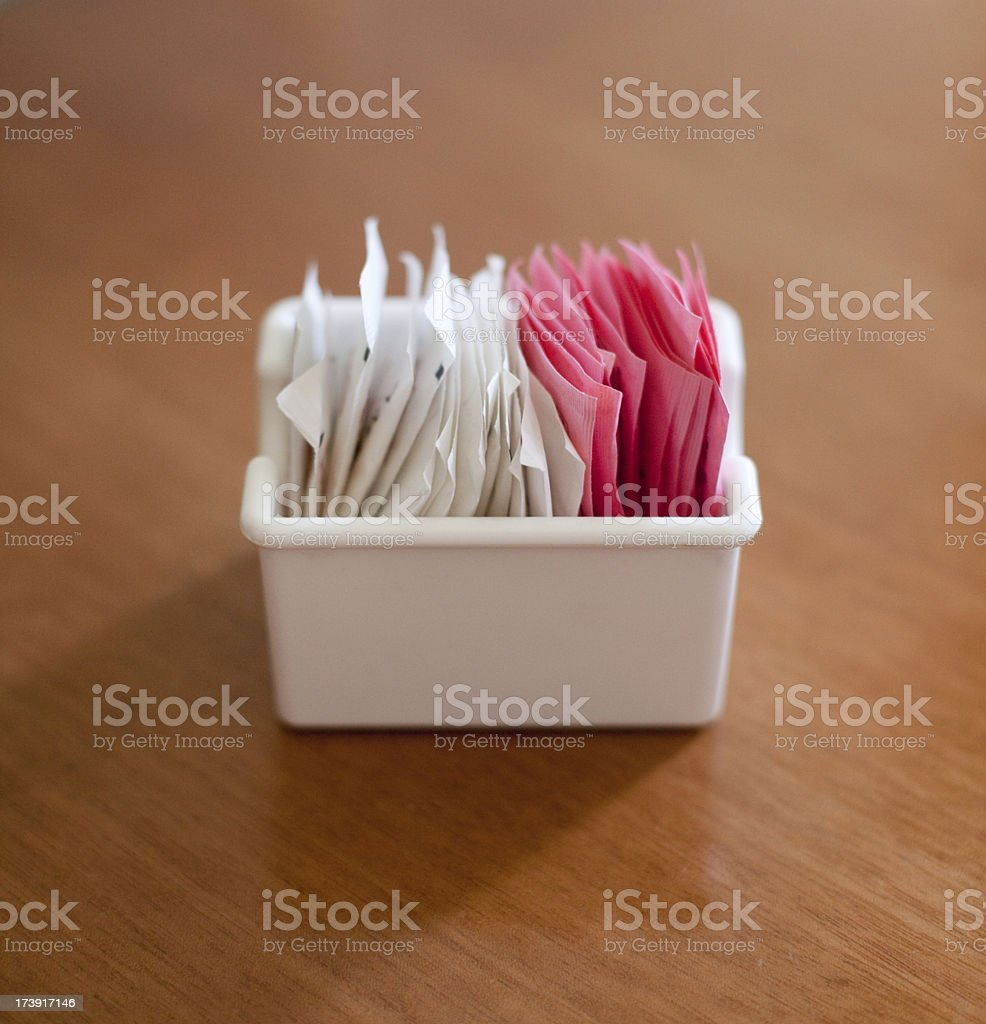 Sugar and Artificial Sweetener Packets royalty-free stock photo