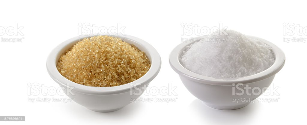 sugar and salt on white background stock photo