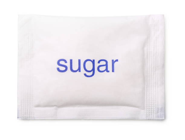 sugar bag - sweeteners stock photos and pictures