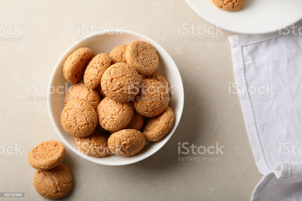 Sugar biscuits in bowl top view, food stock photo