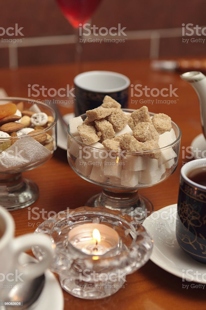 Sugar bowl on a table royalty-free stock photo