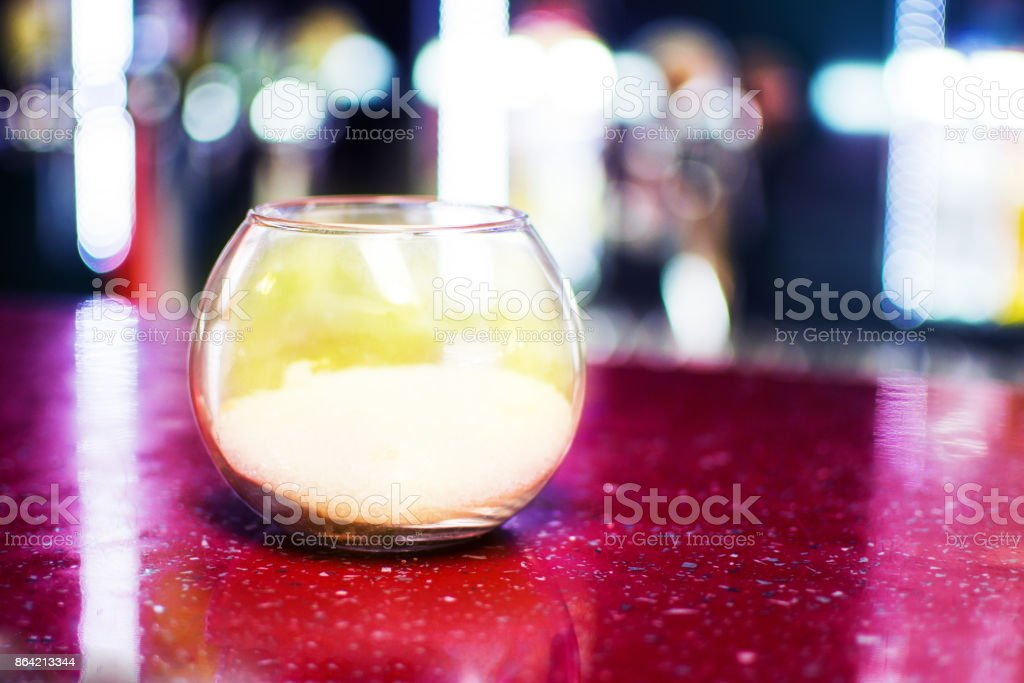Sugar bowl transparent stands on a table royalty-free stock photo