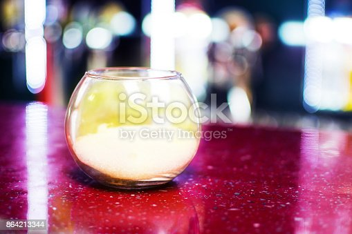 Sugar Bowl Transparent Stands On A Table Stock Photo & More Pictures of Bowl