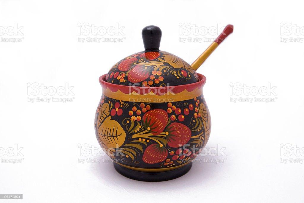 Sugar bowl, wooden royalty-free stock photo