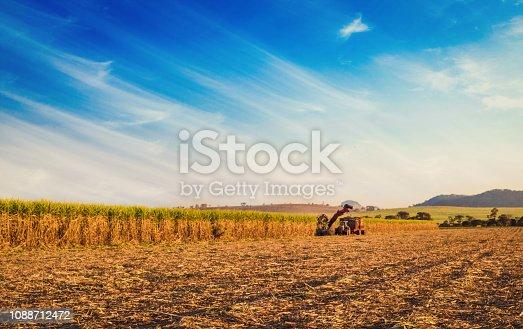 istock Sugar cane hasvest plantation in Brazil. 1088712472