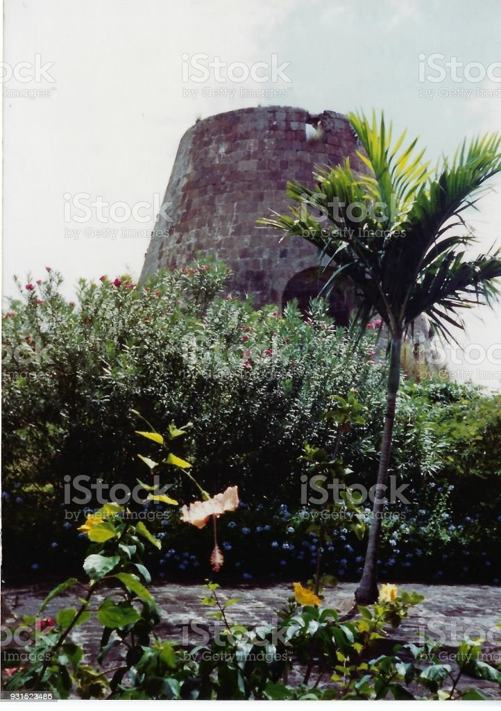 Sugar Cane Mill Ruins, St. Kitts stock photo