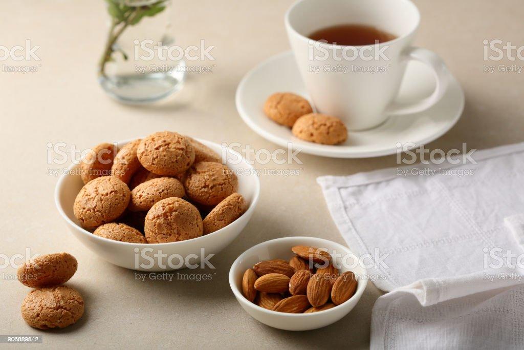 Sugar cookies and cup of tea, food closeup stock photo