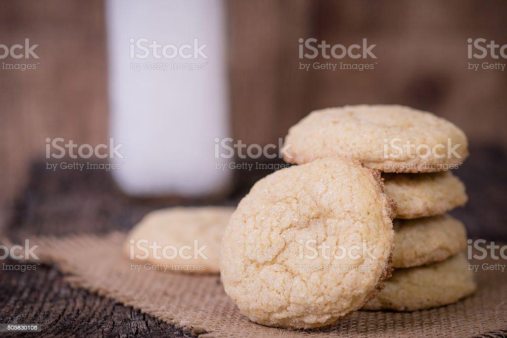 Sugar cookies and milk stock photo