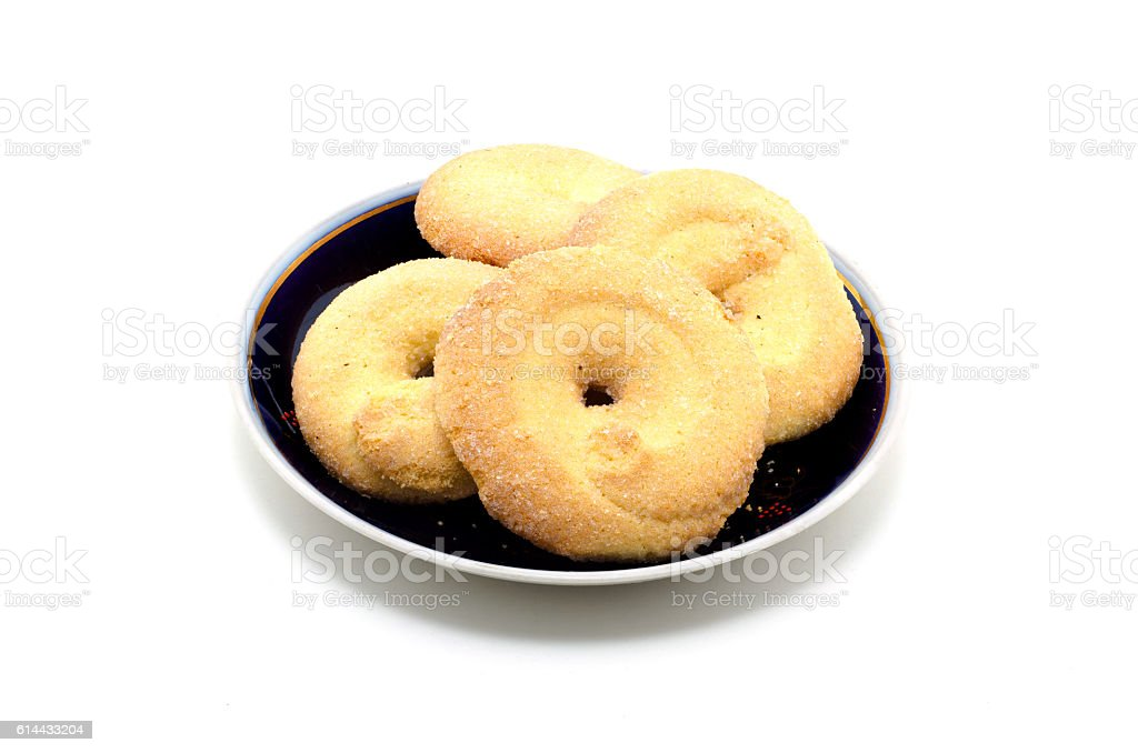 Sugar Cookies in a saucer on a white background. – Foto
