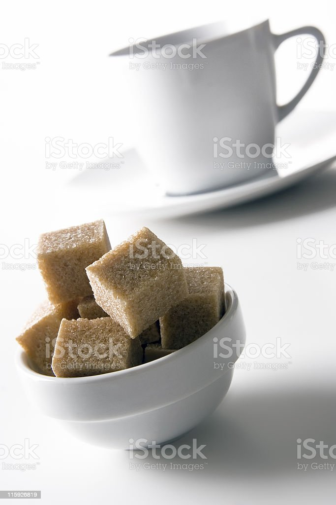 Sugar cubes in a bowl royalty-free stock photo