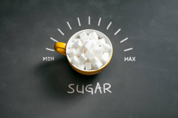 Sugar cubes in coffee cup min max dial - Diet Healthy Eating Background stock photo