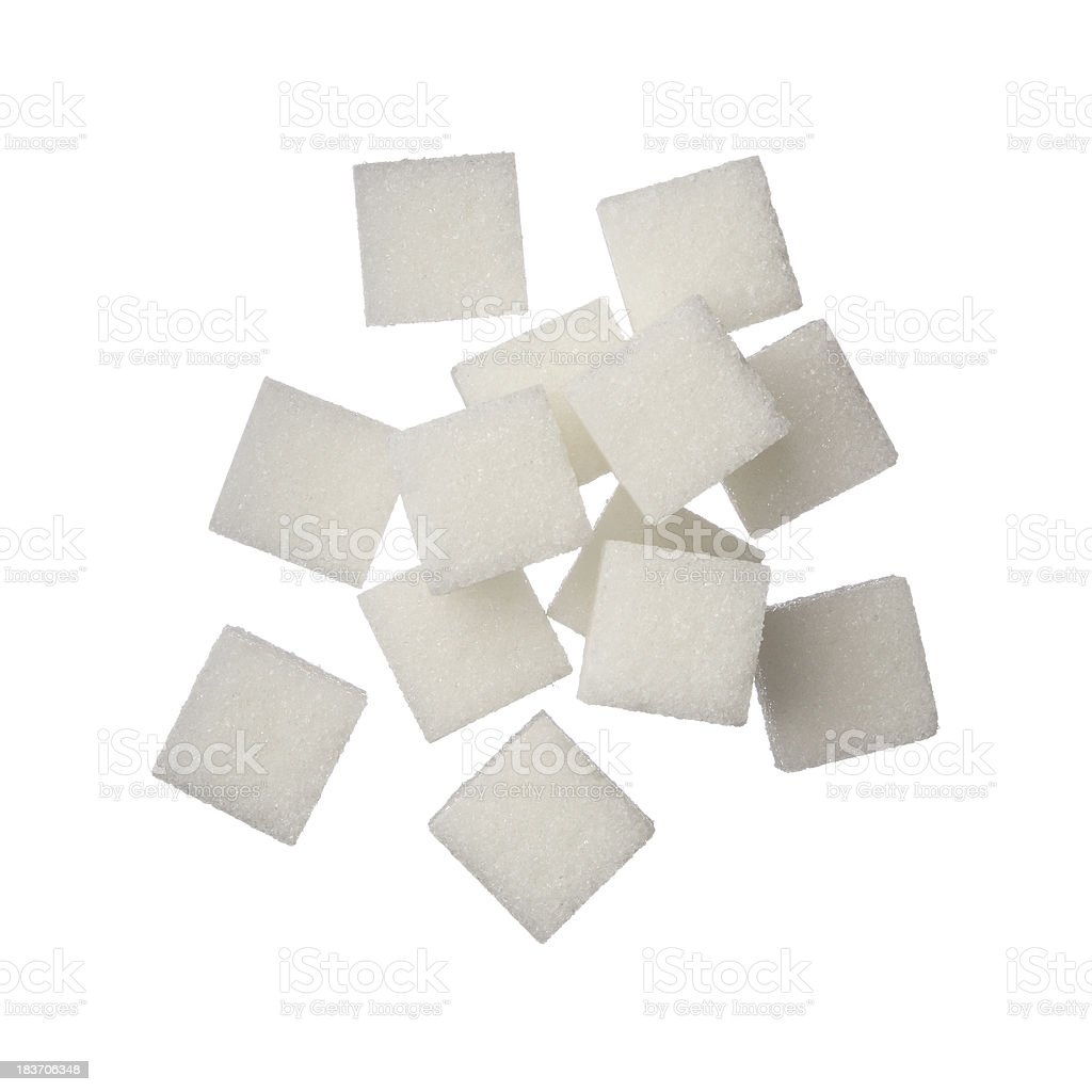 Sugar cubes on white background stock photo