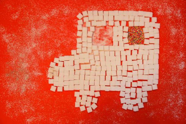 砂糖キューブ - 糖尿病のための記号 ストックフォト