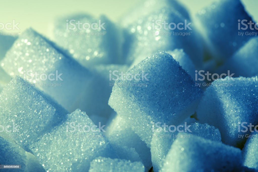 sugar cubes with blue color tone stock photo