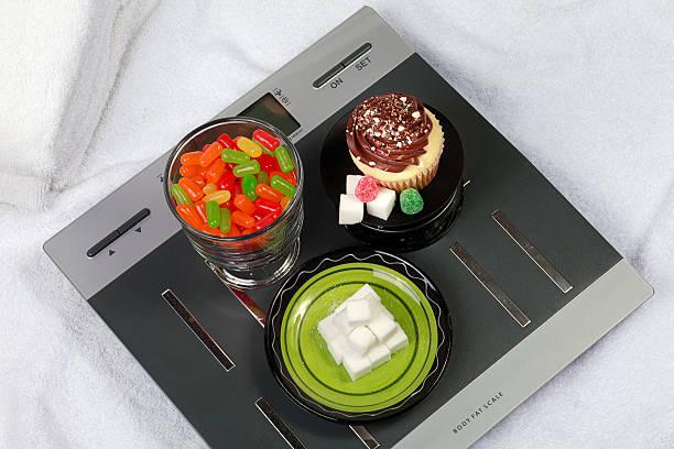sugar, fat, and calories stock photo