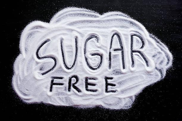 sugar kostenlose wort - zuckerfreie lebensmittel stock-fotos und bilder
