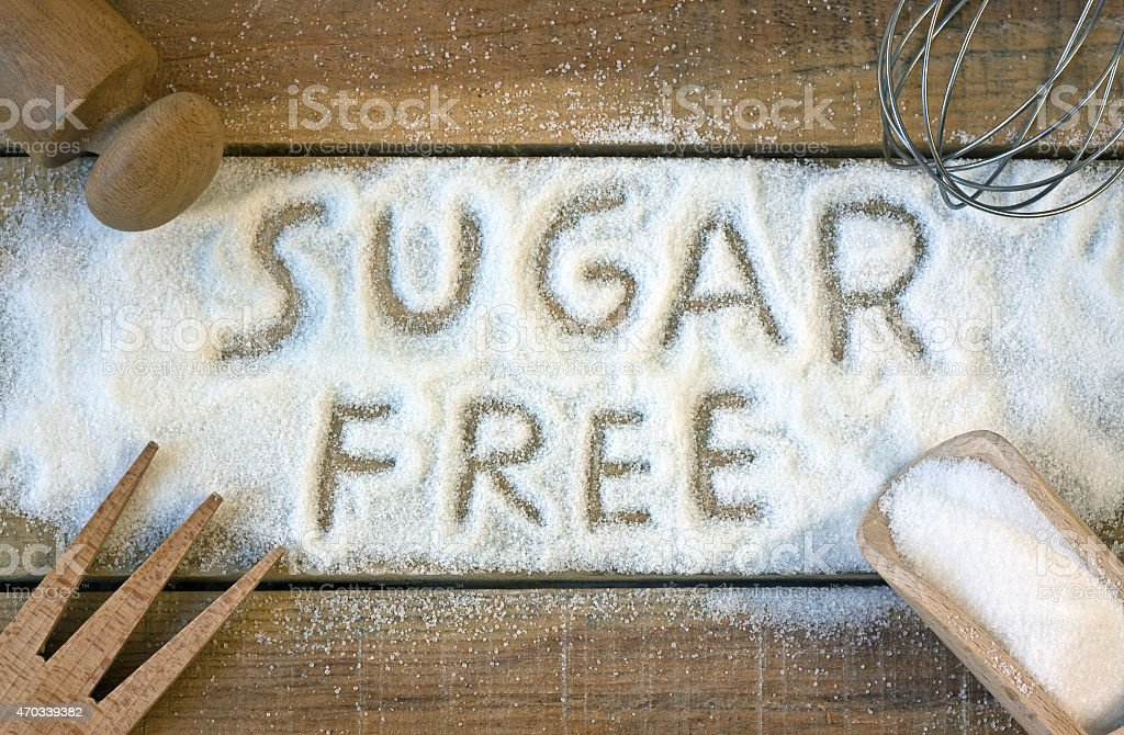 sugar  free word with background stock photo