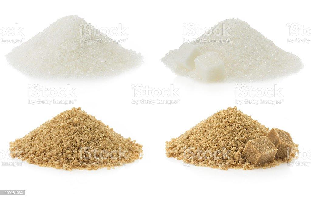 sugar heaps on white stock photo