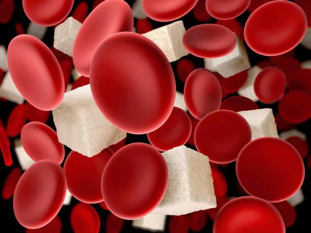 zucker im blut. blutkörperchen mit würfelzucker, 3d illustration - hypoglykämie stock-fotos und bilder