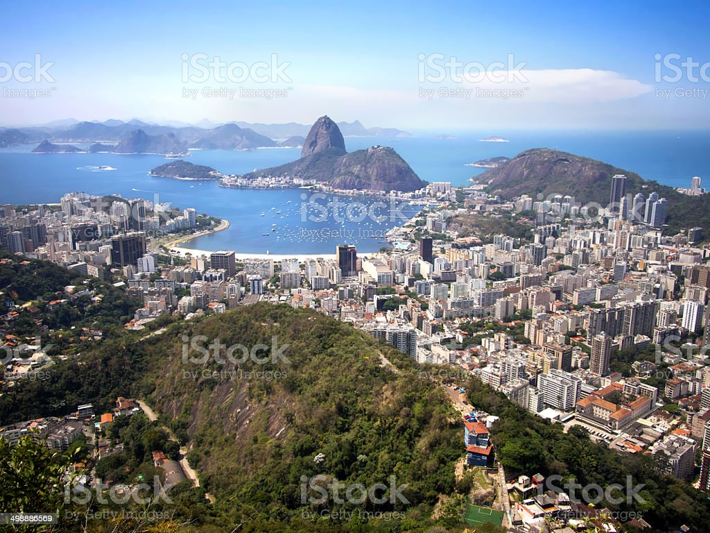 Sugar Loaf Mountain and the Rio de Janeiro Cityscape, Brazil stock photo