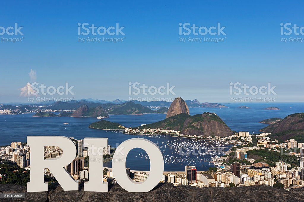 Sugar Loaf Mountain by Day, Rio de Janeiro, Brazil. stock photo
