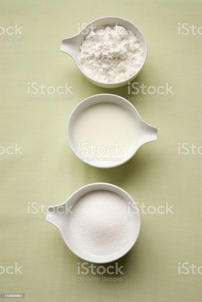 Sugar, milk and flour royalty-free stock photo