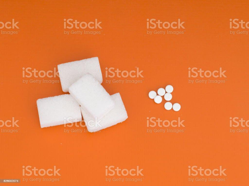 Sugar or artificial sweetener aspartame. stock photo