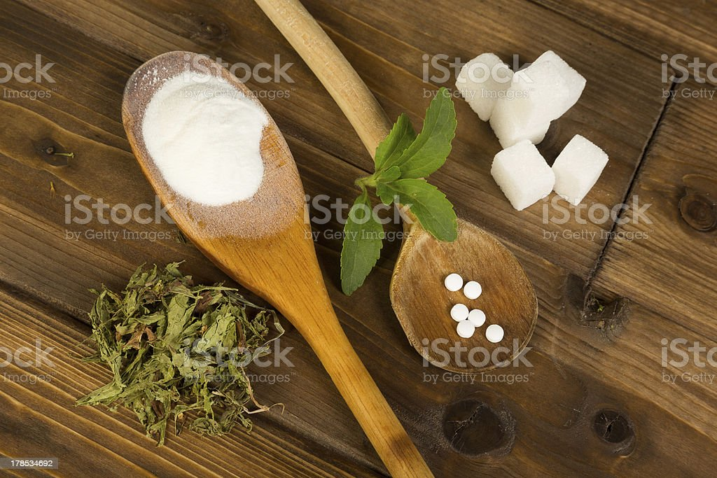 Sugar or stevia stock photo