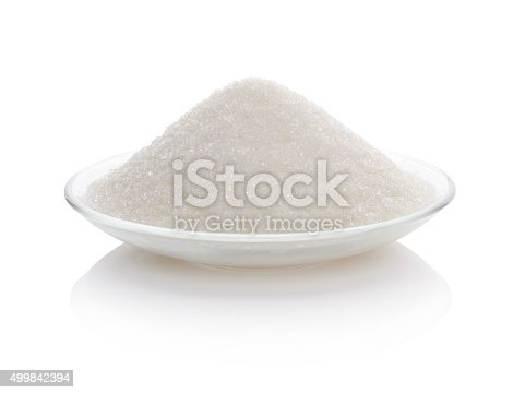 Sugar in glass bowl isolated on white background