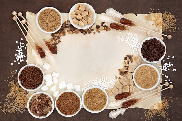 sugar selection - sweeteners stock photos and pictures