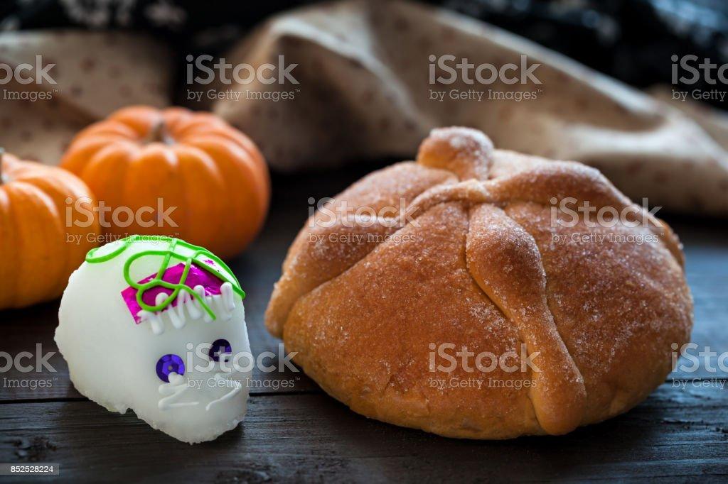 Sugar Skull and Bread of Dead stock photo