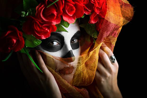 sugar skull bride - gesichtstattoos stock-fotos und bilder