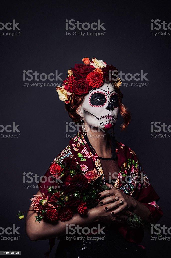 Sugar skull creative make up for halloween stock photo