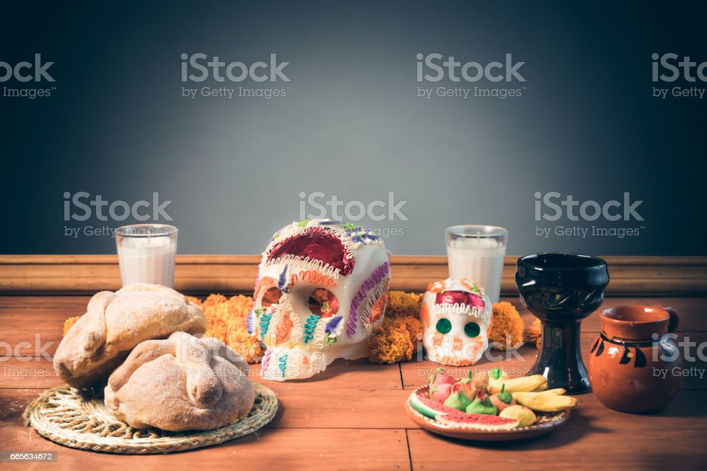 Sugar Skull used for altars at 'dia de los muertos' in Mexico stock photo