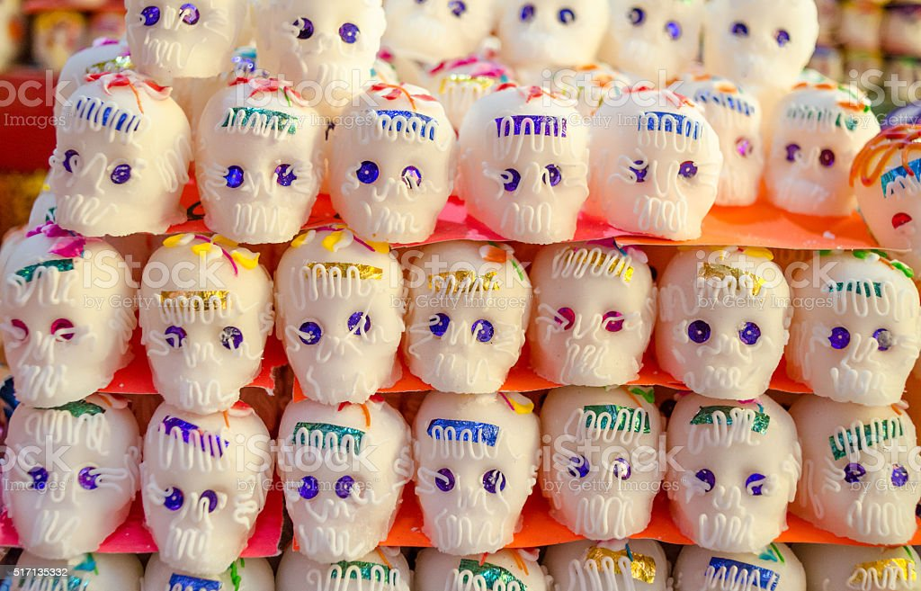 Sugar skulls for sale in Oaxaca for Day of the Dead. stock photo