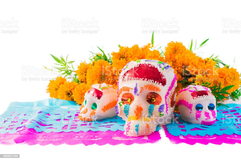 Sugar Skulls used for altars at 'dia de los muertos' in Mexico stock photo