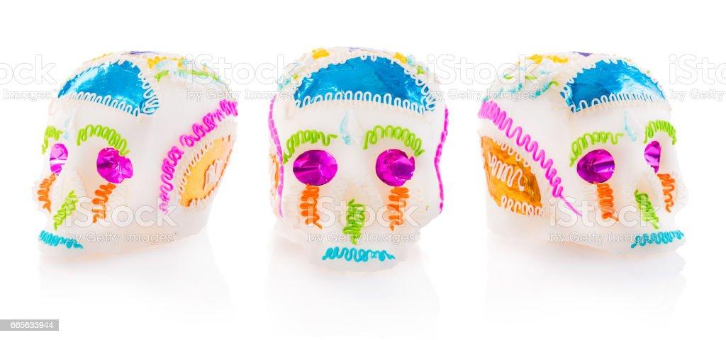 Sugar Skulls used for altars at 'dia de los muertos' in Mexico stock photo